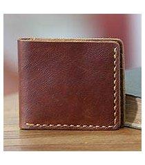 men's leather wallet, 'malioboro brown' (indonesia)