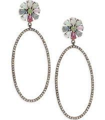 black rhodium-plated sterling silver, multicolor sapphire & diamond drop earrings