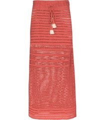 she made me indra crochet-knit midi skirt - pink