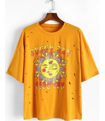 plus size sun flower print drop shoulder distressed t shirt