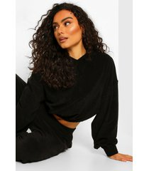 mix & match fleece lounge top met rits, black