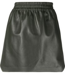 bottega veneta high-waisted leather skirt - green