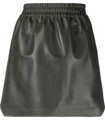 bottega veneta high-waisted leather skirt - green