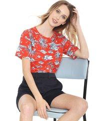 camiseta lacoste estampada vermelha - vermelho - feminino - algodã£o - dafiti