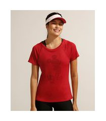 camiseta de poliamida esportiva ace mickey manga curta decote redondo vermelha