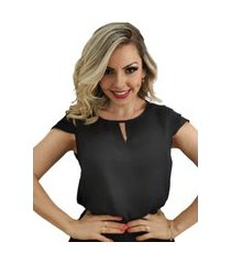 blusa manga curta camadas preta
