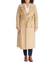 plus size women's lauren ralph lauren wool blend belted wrap coat