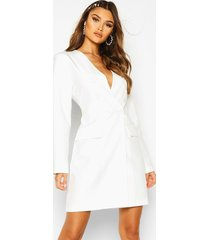 collarless double breasted blazer dress, ivory
