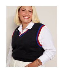 colete de tricô unissex plus size mindset gola v azul marinho