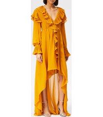 philosophy di lorenzo serafini women's ruffle detail midi dress - yellow - it 42/uk 10 - yellow