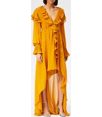 philosophy di lorenzo serafini women's ruffle detail midi dress - yellow - it 44/uk 12 - yellow