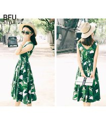 vintage summer dress women 50s 60s retro party dress banana leaves print