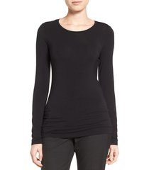 women's halogen long sleeve modal blend tee, size large - black