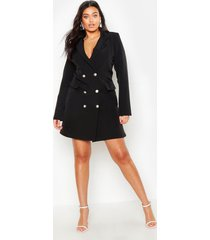 plus double breasted blazer dress, black