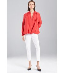 cotton poplin bomber jacket, women's, red, size l, josie natori