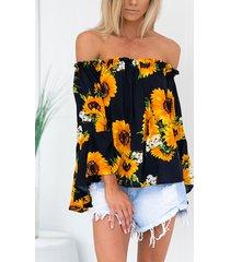 blusa con mangas acampanadas y hombros descubiertos con estampado floral de girasoles al azar