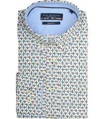 bos bright blue print overhemd 927670/714