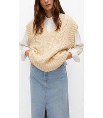 mango braided-knit vest