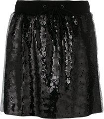 alberta ferretti side stripe sequin mini skirt - black