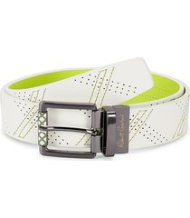 robert graham men's libyan simulated leather belt - white green - size 44
