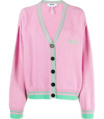 msgm two-tone virgin wool-cashmere blend cardigan - pink