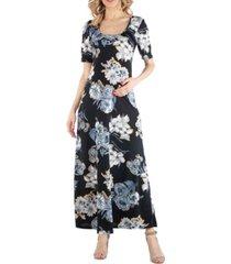 24seven comfort apparel a line floral print maternity maxi dress