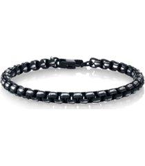 he rocks black silver-tone link bracelet in stainless steel