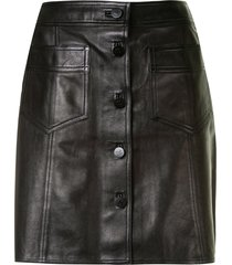 chanel pre-owned 1998 straight-fit leather skirt - black