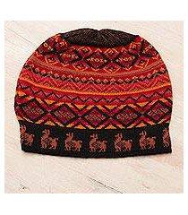 alpaca blend knit hat, 'alpaca sunset' (peru)