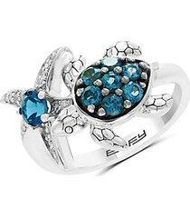 14k white gold, blue topaz & diamond turtle & starfish ring