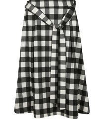 msgm tie-waist checked skirt