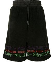 marcelo burlon county of milan logo print fleece track shorts - black