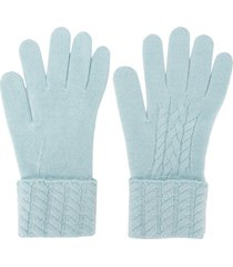 n.peal cable-knit cashmere gloves - blue
