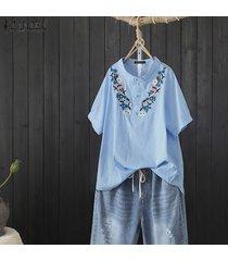 zanzea plus s-5xl de las mujeres de manga corta flor de ganchillo tapas de la camisa a rayas blusa suelta plus -azul