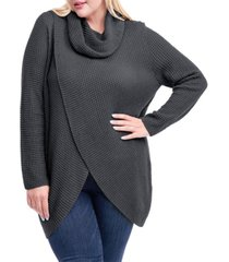 women's plus size waffle knit sweater with cowlneck