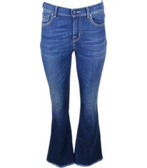 jacob cohen trumpet denim jeans trousers with 5-pocket fringed bottom in stretch cotton with natural indago zip
