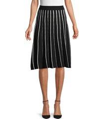 saks fifth avenue women's striped cotton-blend a-line skirt - black white - size xl