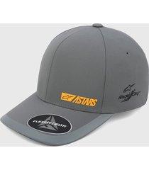gorra gris-amarillo alpinestars micron delta