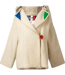 jc de castelbajac pre-owned decorative hooded jacket - neutrals