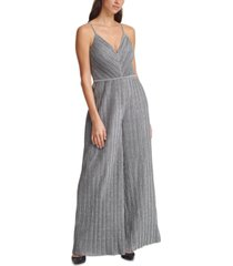 vince camuto pleated metallic jumpsuit