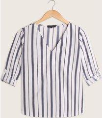 blusa estampada manga 3/4 escote en v-l