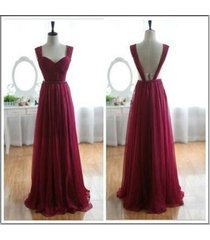 charming a-line burgundy backless chiffon long prom/evening/bridesmaid dresses