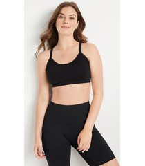 maurices womens soft stretch black open lace back seamless bralette