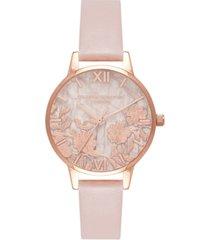 olivia burton women's semi-precious rose vegan leather strap watch 30mm