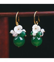 orecchini pendenti orecchio vintage verde agata palle fiore pianta orecchini gioielli per le donne