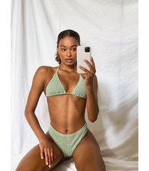 shirred triangle bikini, sage