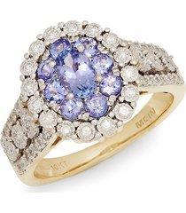 effy women's 10k yellow gold, tanzanite & white diamond ring - size 7