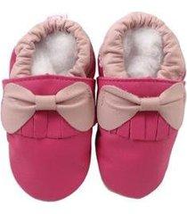 pantufa catz calçados infantil couro franja laço feminina - feminino