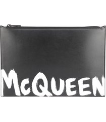 alexander mcqueen leather clutch bag with contrasting logo