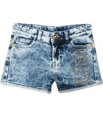 young versace denim shorts with rear logo